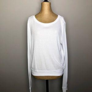 Wildfox white waffle knit long sleeve shirt